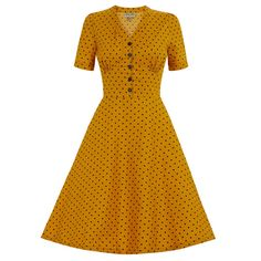 Ionia Mustard Polka Dot Tea Dress | Vintage Style Dresses - Lindy Bop