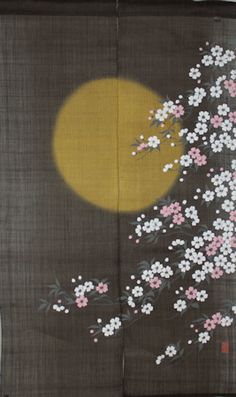 Listed in this page is a noren curtain with kuri (Japanese chestnut) design printed on it. Noren Curtains, Art Asiatique, Asian Home Decor, Art Japonais, Japanese Prints, Office Art, Japan Art, Japanese Culture, Textile Patterns