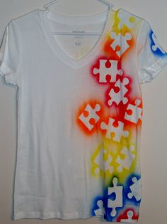 puzzle pieces + paint + tee