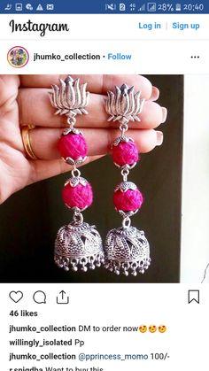 Jewellery Diy, Thread Jewellery, Textile Jewelry, Fabric Jewelry, Metal Jewelry, Silver Jhumkas, Silver Jewellery Indian, Feather Earrings, Drop Earrings