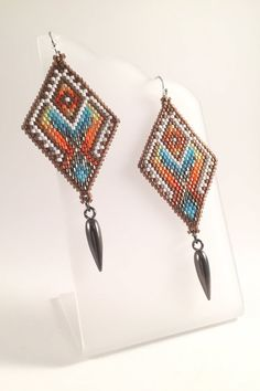 Seed Beaded Tribal Earrings by Calisi on Etsy