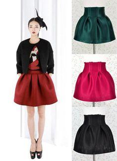 Estructura Tulip plisado completa Puffy Mini falda llena de neopreno de cintura alta(China (Mainland))