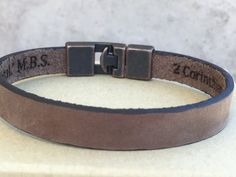 FREE SHIPPING-Hidden Message Men BraceletEngraved by JustLeatherB