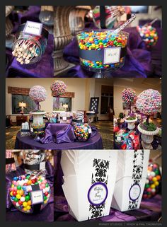Purple candy table!! <3 Love Love
