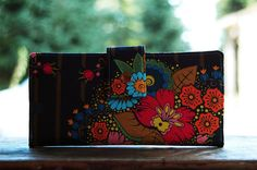Wallet clutch for women floral on navy by happykathy on Etsy