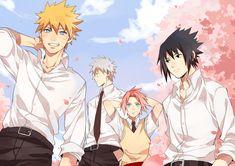 Tags: Fanart, NARUTO, Haruno Sakura, Uzumaki Naruto, Uchiha Sasuke, Hatake Kakashi, Pixiv, Team 7, Fanart From Pixiv, Mon (Pixiv3333736)