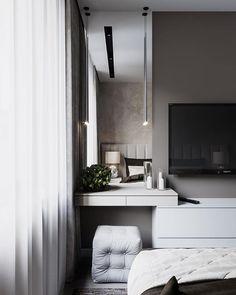 55 trendy home office pequeno cama Neutral Bedrooms, Trendy Bedroom, Luxurious Bedrooms, Modern Bedroom, Contemporary Bedroom, Apartment Design, Bedroom Apartment, Home Bedroom, Bedroom Decor