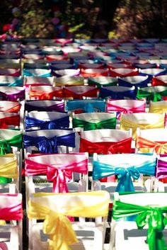 """""""Colorful Wedding/ For those of people who don't know what this is, they are chairs with colorful ribbons around them"""". I love this!"""