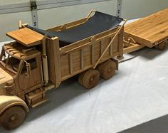 Dump Truck and Trailer Wooden Toy Trucks, Wood Plane, Woodworking Inspiration, Mack Trucks, Dump Truck, Fine Woodworking, Wood Toys, Scale Models, Wood Projects