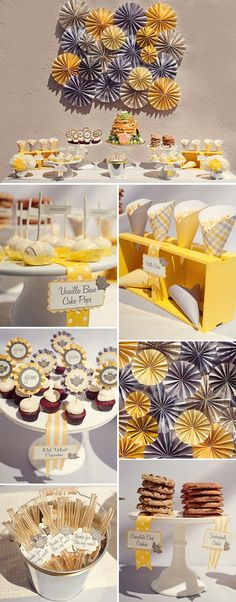Bumble bee themed party dessert table