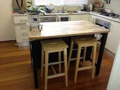 kitchen island bench on wheels with stools - Google Search