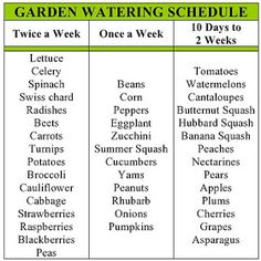 my family prepared: Garden Watering Schedule