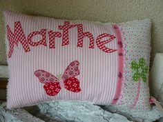 Namenskissen - Kissen mit Namen ♥ Schmetterling rot - ein Designerstück von CADOO bei DaWanda