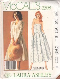 77b6985551b6 McCalls 2398 1980s Misses Laura Ashley Jacket Strapless Dress Pattern  Basque Waist Womens Vintage Sewing Pattern Size 8 Bust 31 UNCUT