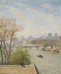 Camille Pissarro 1830 - 1903 LE LOUVRE, MATIN, PRINTEMPS Signed C. Pissarro and dated 1902 (lower left) Oil on canvas 25 1/2 by 21 1/4 in. 65 by 54 cm Painted in 1902. Estimate  1,200,000 — 1,800,000  USD  LOT SOLD. 1,570,000 USD