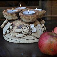 Keramika / Zboží | Fler.cz Christmas Clay, Christmas Angels, Christmas Crafts, Ceramic Candle Holders, Lantern Candle Holders, Clay Projects, Clay Crafts, Ceramic Painting, Ceramic Art