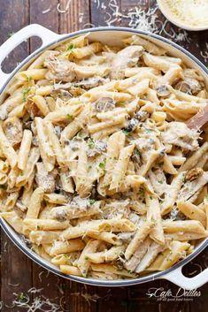 Chicken Mushroom Pasta, Creamy Chicken Pasta, Creamy Mushroom Pasta, Pasta Recipes Without Cheese, Salsa Alfredo Receta, Marry Me Chicken Recipe, Recipe Chicken, Pasta Alfredo, Alfredo Sauce