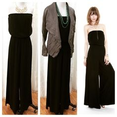 JAX Look of The Day! So many ways to wear this strapless wide leg jumpsuit!