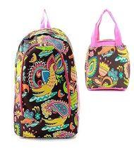 Crocodile Print Zipper Backpack W Matching Lunch Bag