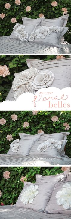 The most romantic bed of all: Create a bedding set that is one of a kind, by adorning your bedding with the most ethereal fabric flower pins.