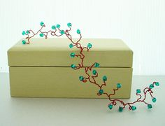 Party Hair Vine - Teal Crystal on Red Wire, Customizable