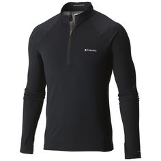 Men's Midweight Stretch Long Sleeve Baselayer Half Zip Shirt Winter Layering Outfits, Ski Base Layers, Mens Outdoor Clothing, Columbia Sportswear, Neymar Jr, Outdoor Outfit, Black Tops, Wicked, Zip