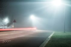 Foggy Street at Night by groblerinus Shooting In Raw, Photography Tutorials, Landscape Photos, Amazing Photography, Mists, Airplane View, Skyscraper, Cool Photos, Photo Galleries