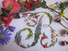 Elizabeth hand embroidery: Letters flowering