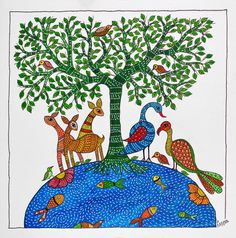Ink Drawings, Cool Art Drawings, Colorful Drawings, Art Painting Gallery, Madhubani Painting, Mural Art, Wall Murals, Indian Traditional Paintings, Pichwai Paintings