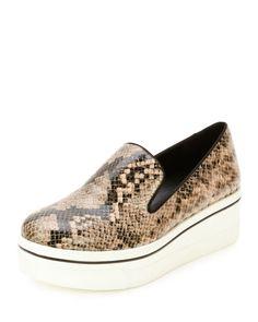 STELLA MCCARTNEY Binx Snake-Embossed Platform Skate Sneaker, Black. #stellamccartney #shoes #