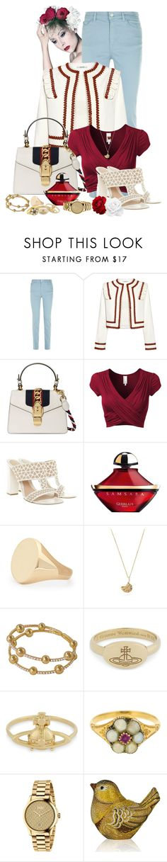 """""""Untitled #2638"""" by cardigurl ❤ liked on Polyvore featuring Armani Jeans, Ganni, Gucci, Alexander McQueen, Guerlain, Aurélie Bidermann, Vivienne Westwood and Judith Leiber"""