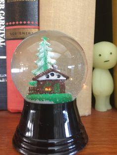 Tiny House and Tree inside a Handmade Miniature Snow Globe Snow Globe Kit, Diy Snow Globe, Snow Globes, House Inside, Tiny House, Three Wise Monkeys, Glass Globe, Picture Frames, Sweet Home
