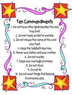 Ten Commandments Poster | Ten commandments, Sunday school and School