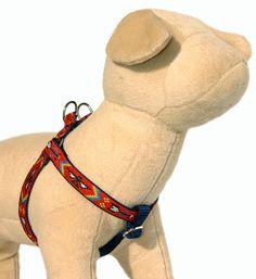 Dog harness & dog leash Southwestern Tribal Navajo Shoshone step in dog harness Small dog harness Large dog harness Red boy dog harness