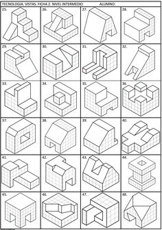 99471959 Pin on CAD Practice drawings Isometric Sketch, Isometric Art, Isometric Design, Drawing Lessons, Orthographic Drawing, Orthographic Projection, Isometric Drawing Exercises, Interesting Drawings, Graph Paper Art