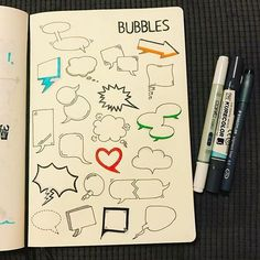 Speech & thought bubbles, always… Doodle Icon, Doodle Art, Doodle Lettering, Hand Lettering, Vintage Cartoons, Visual Note Taking, Note Doodles, Thought Bubbles, Sketch Notes