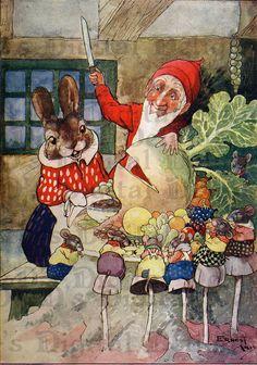 ADORABLE Gnome and Bunny.  VINTAGE  Fairy by DandDDigitalDelights, $1.99