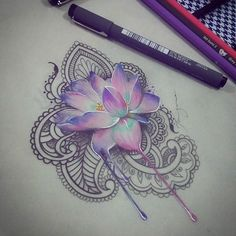 LOVE this for a tattoo - maybe the thigh. I would want the background to be a…