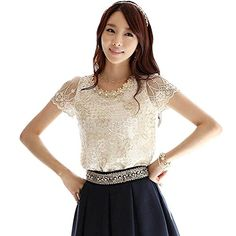 PanDaDa Womens Lace Tops Short Sleeve Tee T-shirts Beaded Collar Chiffon Top