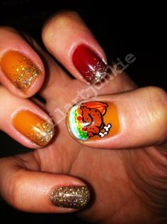 Roast Turkey Dinner 2015 Thanksgiving Nails with Glitter - Dark Red, Orange, Gold Polish Art - LoveItSoMuch.com