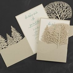 Woodland Bliss - Invitation from Carlson Craft - Item Number: RRN4856NGB - This woodland-inspired invite is perfect for the couple looking for something a little different to announce their wedding day. #CarlsonCraft #wedding