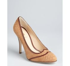 Fendi cafe au lait snake embossed leather round toe pumps.  I think I might have a thing for snake skin...?