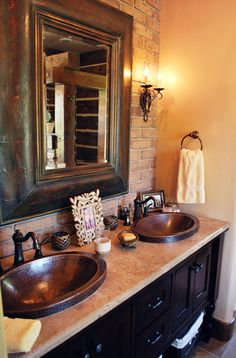 Pocatello Master Bathroom - could take existing tile and match with copper/bronze sinks