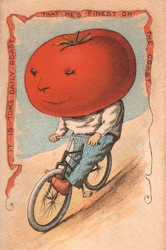 Vegetable People Tomato Riding a Bicycle