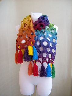 Rainbow scarf by dosiak on Etsy, $55.00
