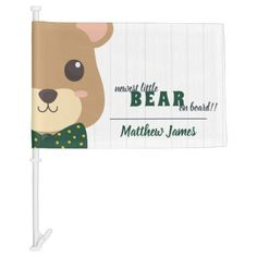 Baby Boy Bear Green & Gold Car Flag Exterior Car Accessories, Holiday Cards, Christmas Cards, Car Flags, Christmas Card Holders, Baby Accessories, Hand Sanitizer, Custom Cars, Green And Gold