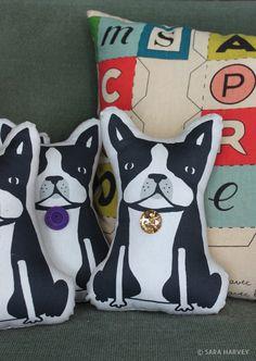 Boston Terrier pillow plush dolls.