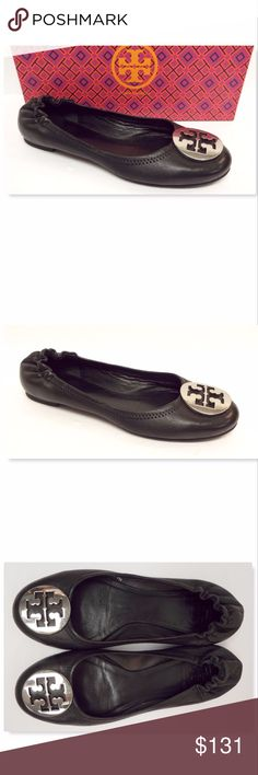 TORY BURCH Size 7 REVA Black Leather Ballet Flats TORY BURCH Black Leather Ballet Flats w/ Silver tone logo Size 7 Medium Gently loved and excellent condition! Tory Burch Shoes Flats & Loafers