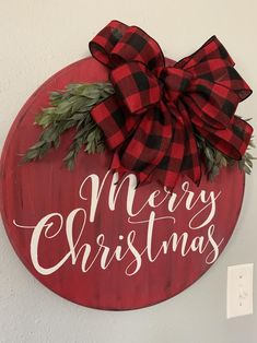 wood Merry Christmas door hanger or wall decor. Embellished with buffalo plaid bow & greenery and will dress your door in style. Christmas Crafts To Sell, Christmas Signs Wood, Christmas Door Decorations, Etsy Christmas, Christmas Projects, Holiday Crafts, Christmas Time, All Things Christmas, Christmas Ornaments