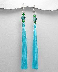 Sterling Silver Earrings beaded with cotton and semi-gemstones. Shop Now at www.beadnic.com